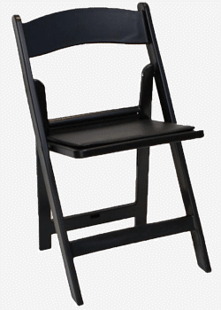 Black resin folding chairs rentals